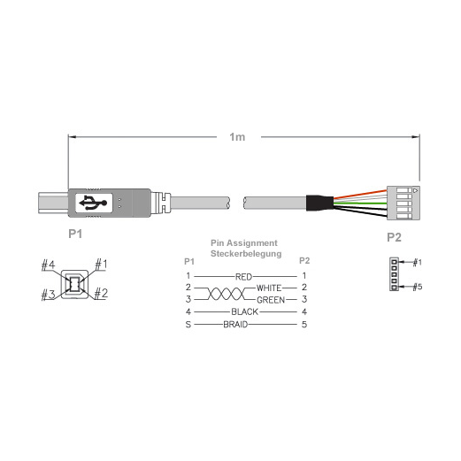 USB A male or B male to board connector | USB mounting cables and ...