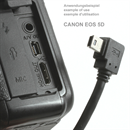 CU-B2RS-F-20: Angled MINI USB cable: USB A to Mini B ANGLED RIGHT 2m with 1 ferrit core