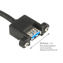 ALEX-V285-180: Mountable USB 3.0 cable A female with screws to A male 180cm (screw spacing 28.5mm)