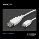 CU-BWE-20: USB cable A to MICRO-B 2m flexible + white