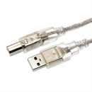 CU-03: Short USB 2.0 cable PREMIUM QUALITY A-to-B silver translucent 30cm